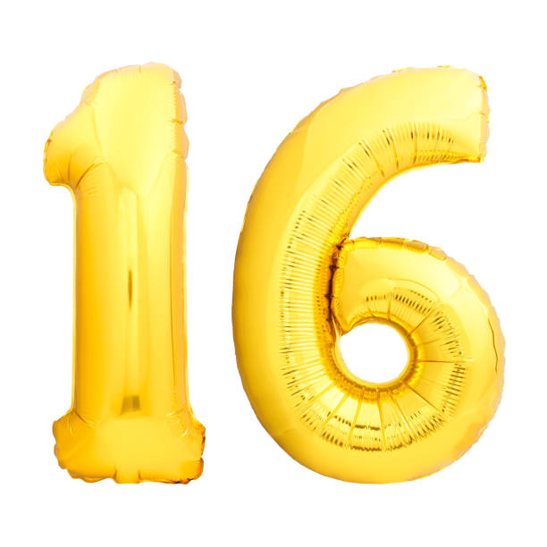 golden number 16 sixteen made of inflatable balloon - number 16 stock photos and pictures