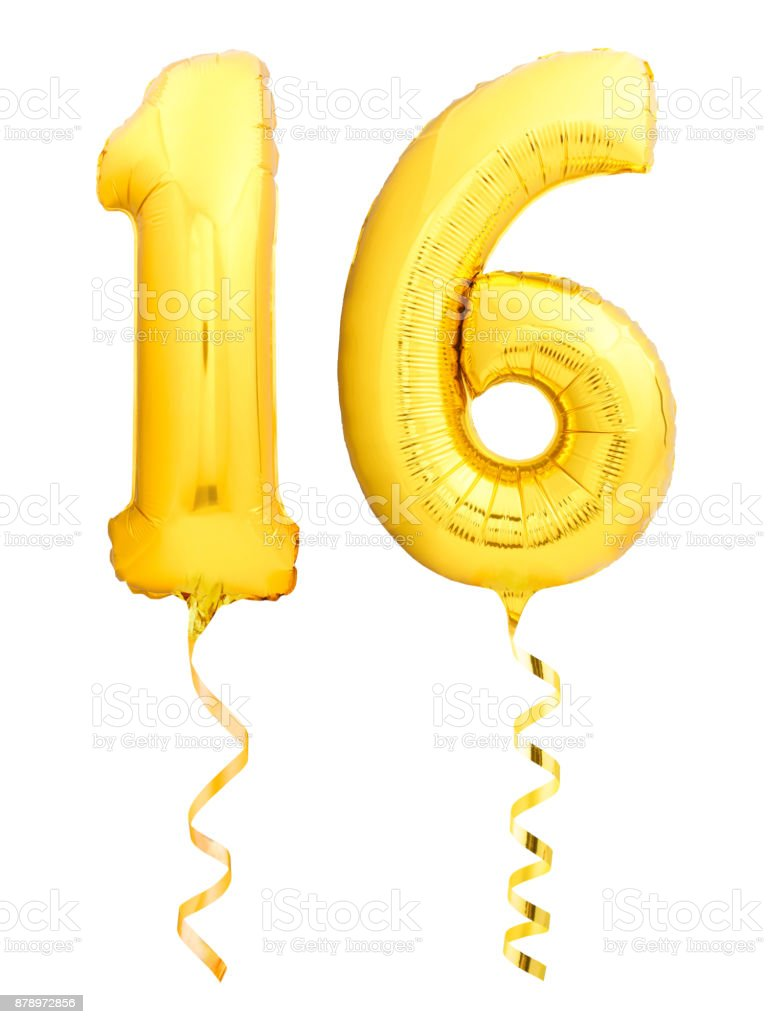 Golden number 16 sixteen made of inflatable balloon with ribbon isolated on white stock photo