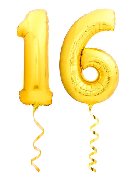 golden number 16 sixteen made of inflatable balloon with ribbon isolated on white - number 16 stock photos and pictures
