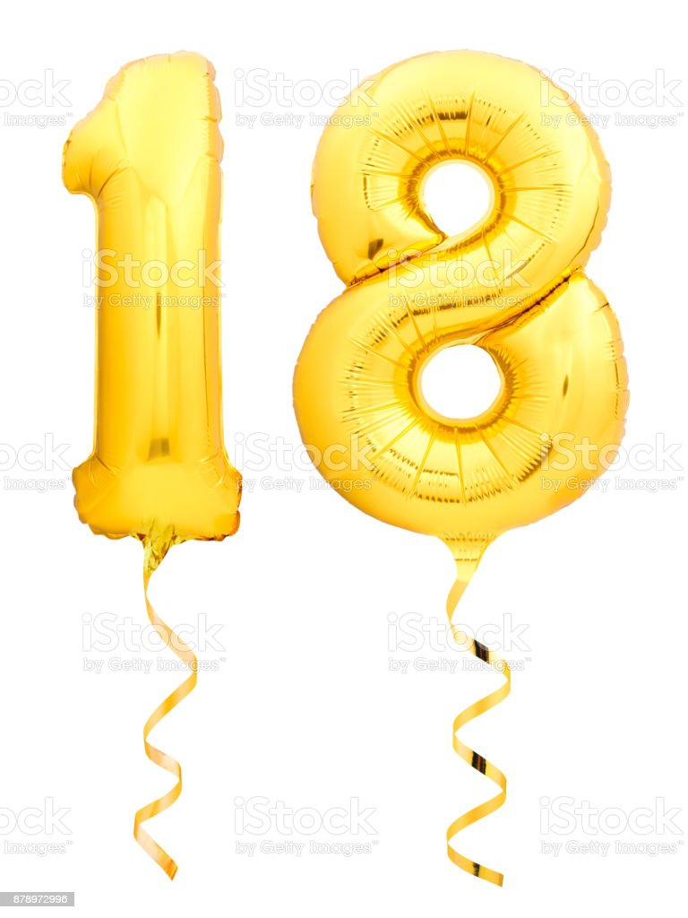 Golden number 18 eighteen made of inflatable balloon with ribbon isolated on white stock photo