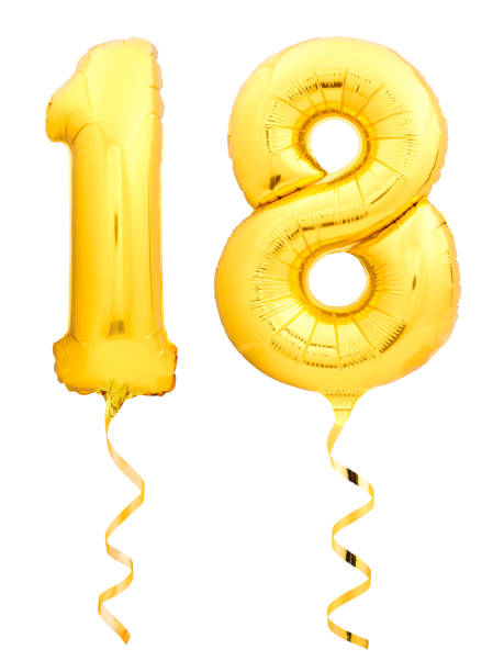 golden number 18 eighteen made of inflatable balloon with ribbon isolated on white - number 18 stock photos and pictures