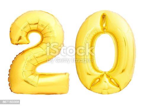 927069242istockphoto Golden number 20 twenty made of inflatable balloon 867183358