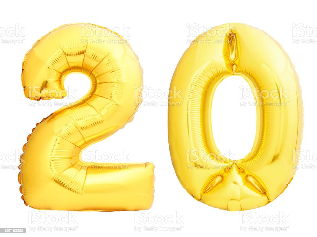 Golden number 20 twenty made of inflatable balloon stock photo