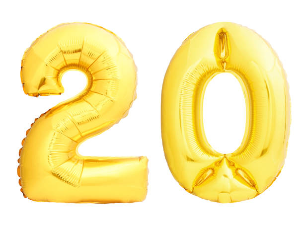 golden number 20 twenty made of inflatable balloon - number 20 stock photos and pictures
