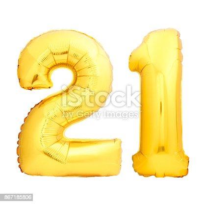 927069242istockphoto Golden number 21 twenty one made of inflatable balloon 867185806