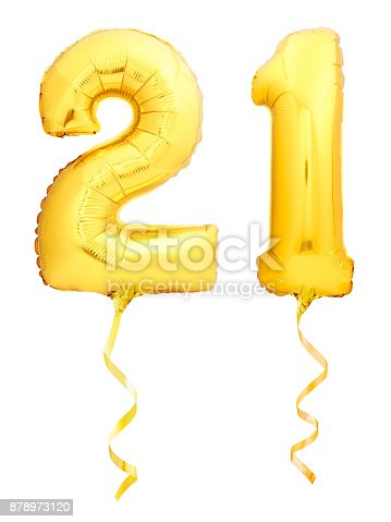 927069242 istock photo Golden number 21 twenty one made of inflatable balloon with ribbon isolated on white 878973120