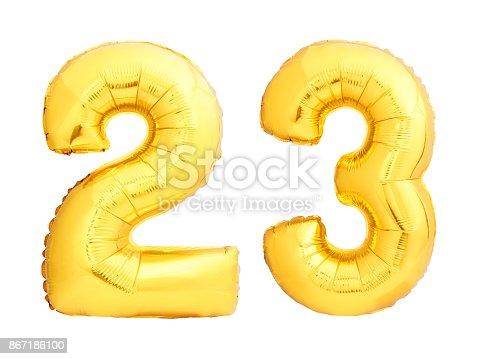 927069242 istock photo Golden number 23 twenty three made of inflatable balloon 867186100