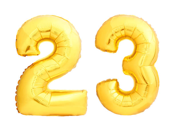 golden number 23 twenty three made of inflatable balloon - number 23 stock photos and pictures