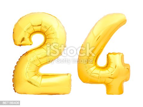 927069242istockphoto Golden number 24 twenty four made of inflatable balloon 867186406