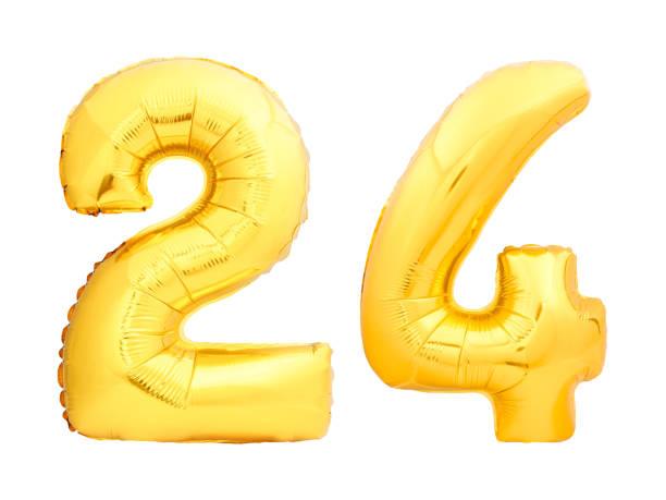 nombre d'or 24 vingt quatre en ballon gonflable - nombre 24 photos et images de collection