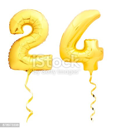 927069242 istock photo Golden number 24 twenty four made of inflatable balloon with ribbon isolated on white 878973338