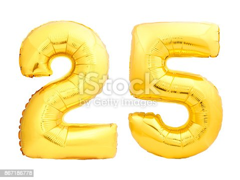 927069242istockphoto Golden number 25 twenty five made of inflatable balloon 867186778
