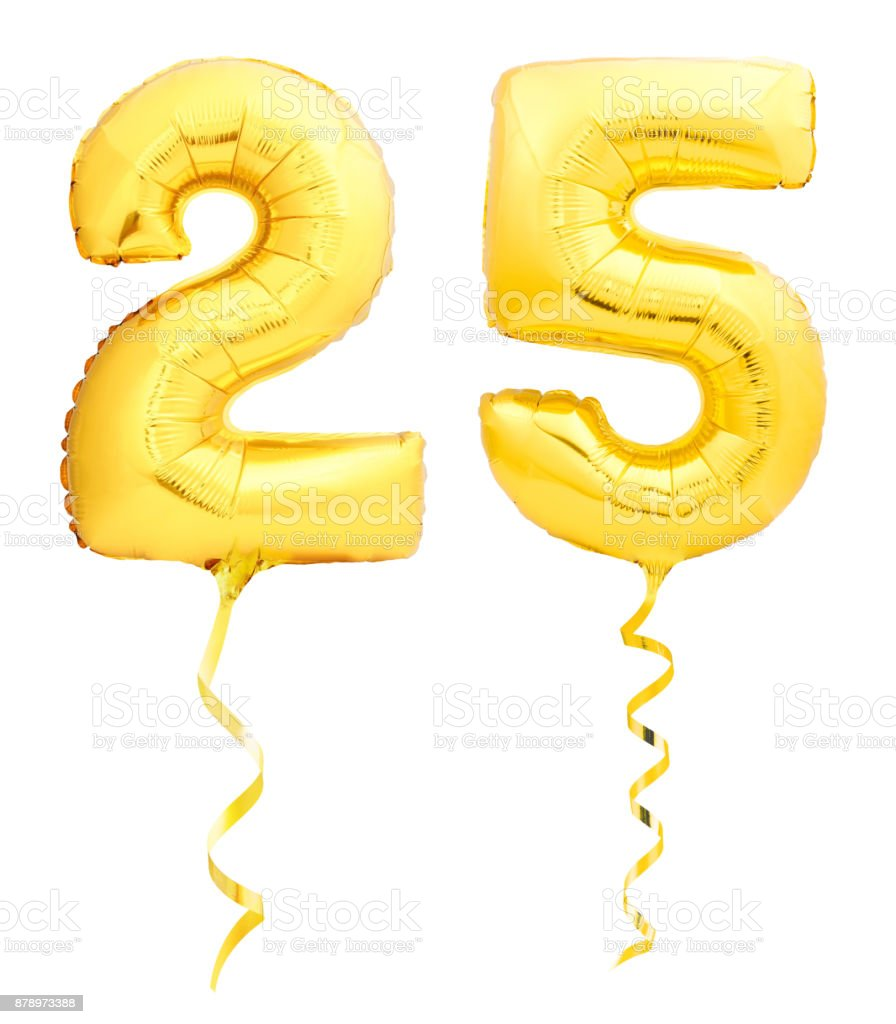 Golden Number 25 Twenty Five Made Of Inflatable Balloon With Ribbon Baloon Birthday Decoration Helium