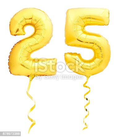 927069242 istock photo Golden number 25 twenty five made of inflatable balloon with ribbon isolated on white 878973388