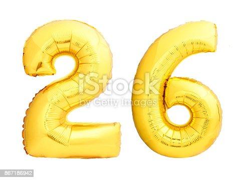 927069242istockphoto Golden number 26 twenty six made of inflatable balloon 867186942