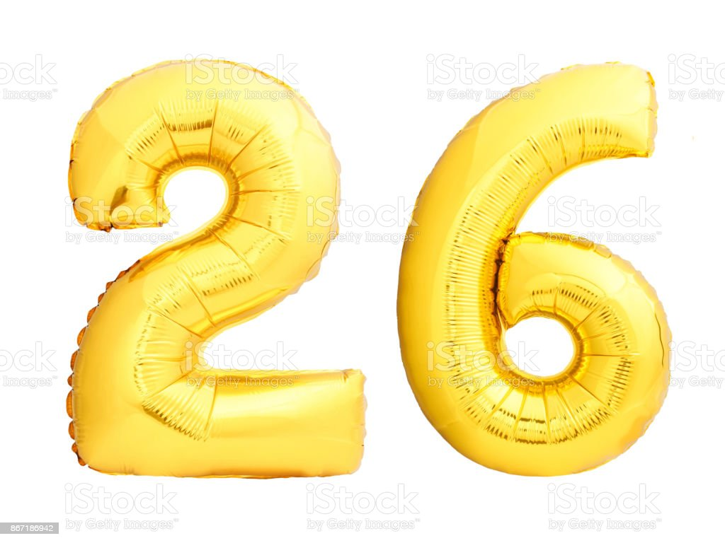 Golden number 26 twenty six made of inflatable balloon stock photo