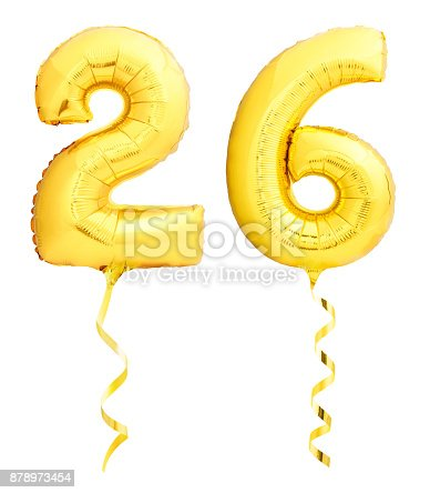 927069242 istock photo Golden number 26 twenty six made of inflatable balloon with ribbon isolated on white 878973454
