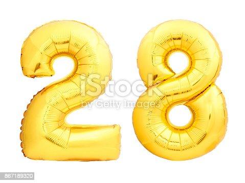 927069242istockphoto Golden number 28 twenty eight made of inflatable balloon 867189320