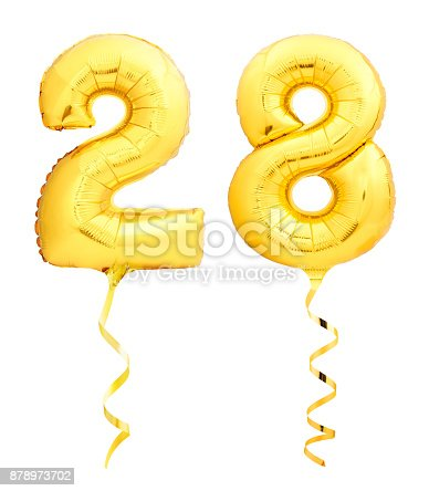 927069242 istock photo Golden number 28 twenty eight made of inflatable balloon with ribbon isolated on white 878973702