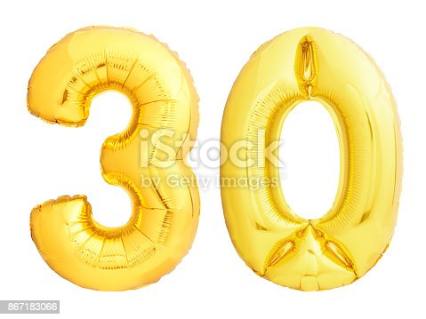 927069242 istock photo Golden number 30 thirty made of inflatable balloon 867183066
