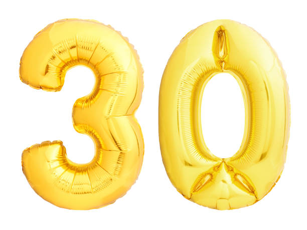 golden number 30 thirty made of inflatable balloon - number 30 stock photos and pictures
