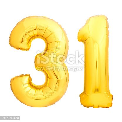 927069242 istock photo Golden number 31 thirty one made of inflatable balloon 867189470