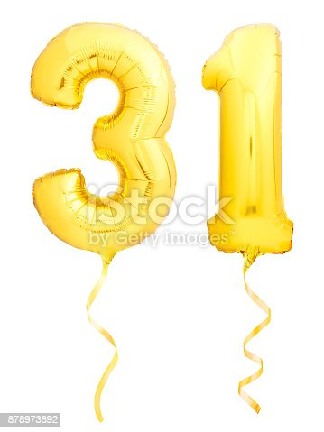 927069242 istock photo Golden number 31 thirty one made of inflatable balloon with ribbon on white 878973892