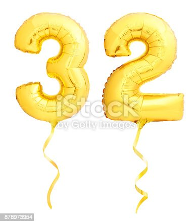 927069242 istock photo Golden number 31 thirty two made of inflatable balloon with ribbon on white 878973954
