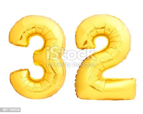 927069242 istock photo Golden number 32 thirty two made of inflatable balloon 867189508