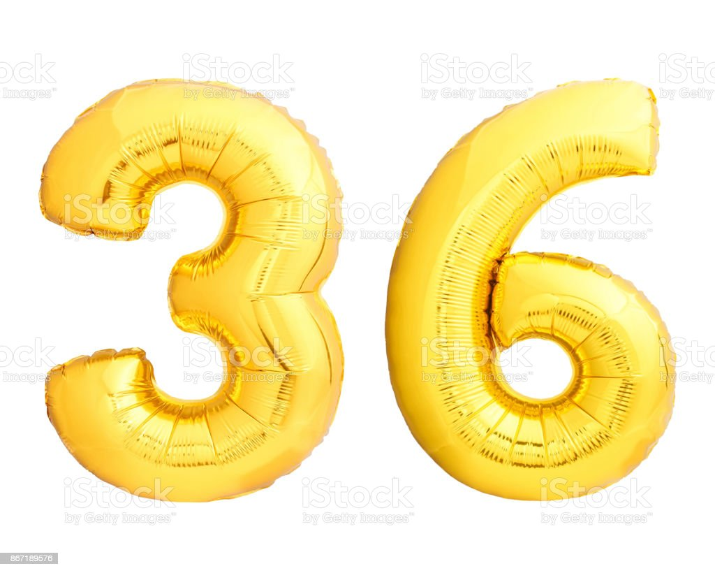 Golden Number 36 Thirty Six Made Of Inflatable Balloon Stock Photo Baloon Royalty Free