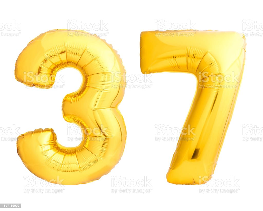 golden number 37 thirty seven made of inflatable balloon