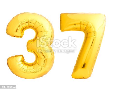 927069242 istock photo Golden number 37 thirty seven made of inflatable balloon 867189602