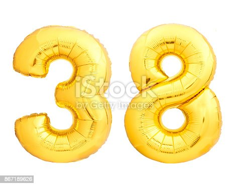 927069242 istock photo Golden number 38 thirty eight made of inflatable balloon 867189626