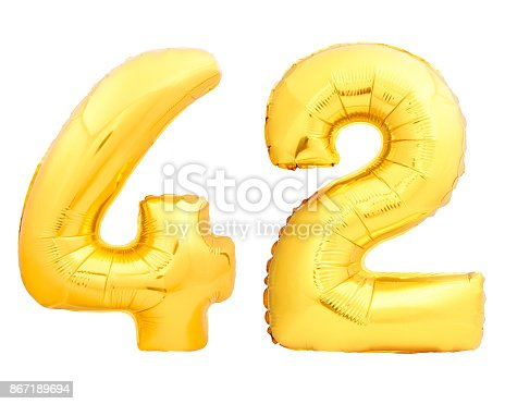 927069242istockphoto Golden number 42 fourty two made of inflatable balloon on white 867189694