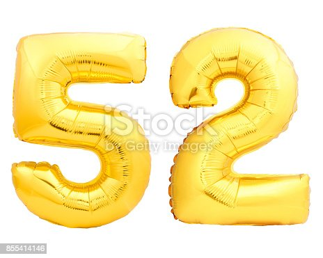 927069242istockphoto Golden number 52 fifty two made of inflatable balloon 855414146