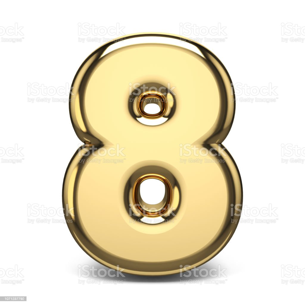 Golden number 8 EIGHT 3D stock photo