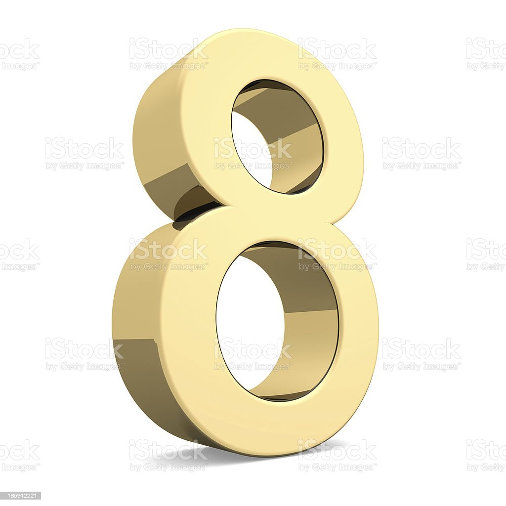 Golden number 8 stock photo