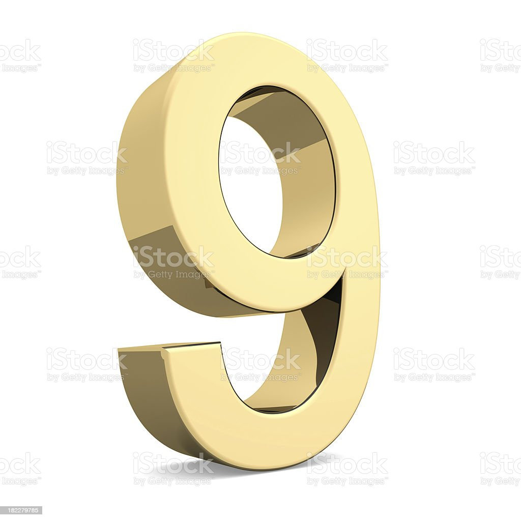 Golden number 9 royalty-free stock photo