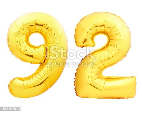 927069242istockphoto Golden number 92 ninety two made of inflatable balloon 855424610