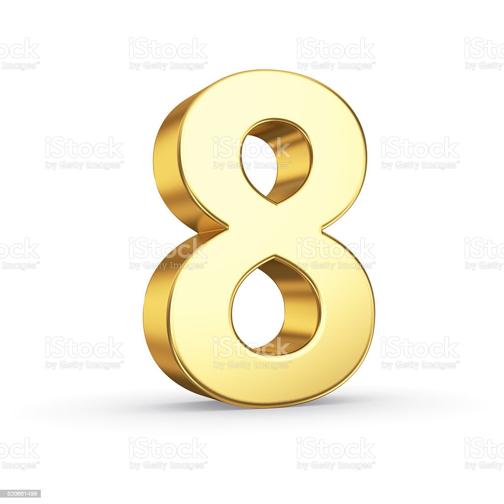 Golden number eight on white stock photo