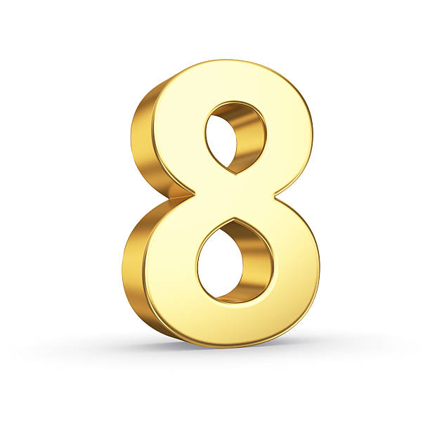 golden number eight on white - number 8 stock pictures, royalty-free photos & images