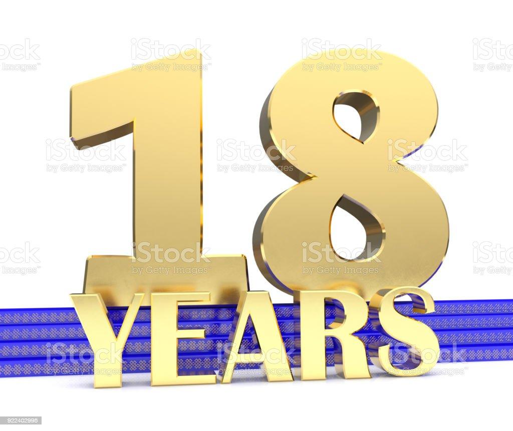 Número de ouro dezoito e os anos de inscrição na escada azul com dourado símbolos nó sem fim. Ilustração 3D - foto de acervo