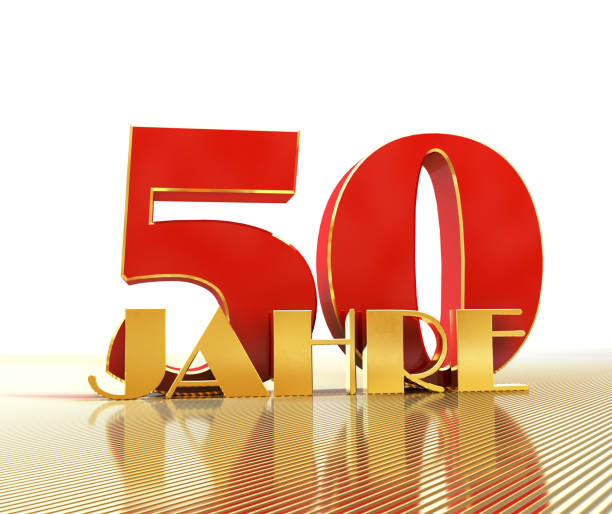 Golden number fifty (number 50) and the word