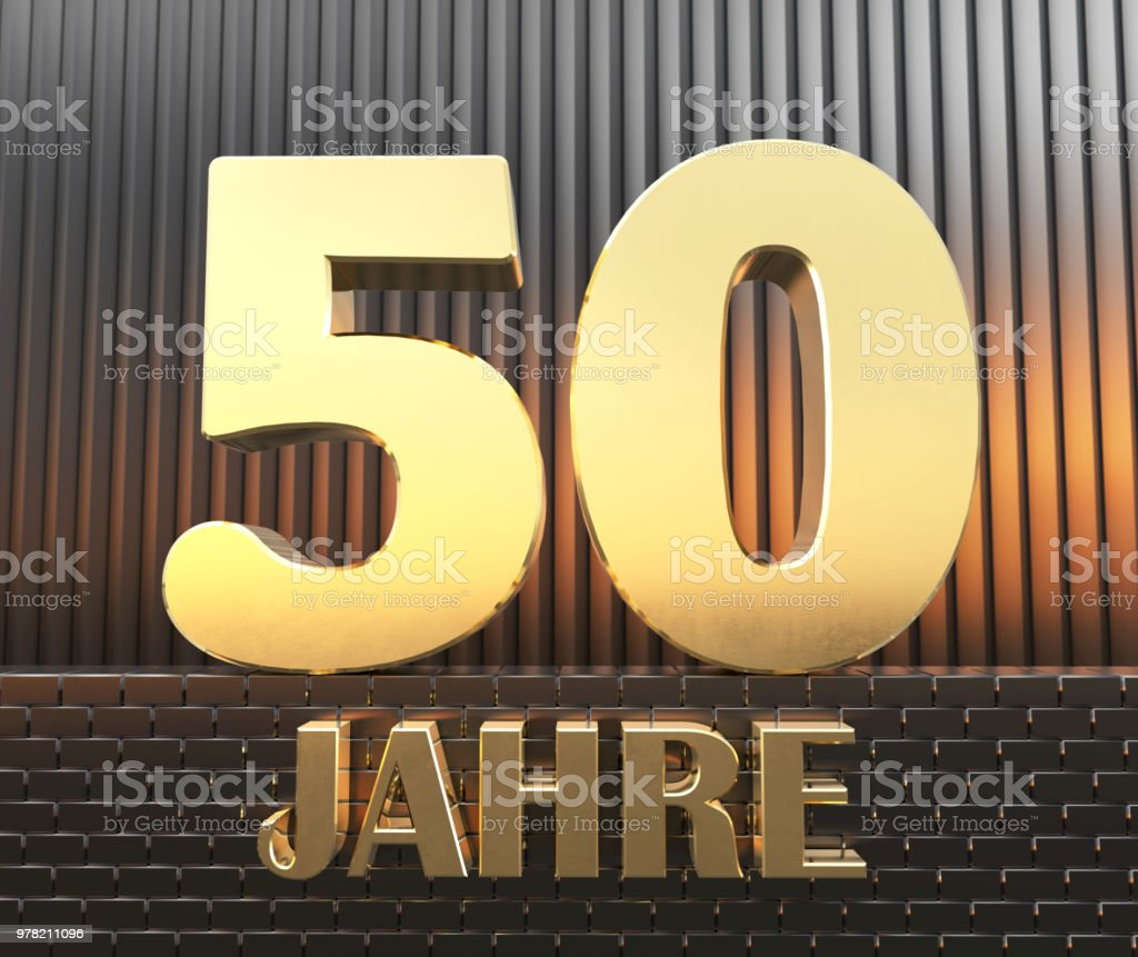 Golden number fifty (number 50) and the word 'years' against the background of metal rectangular parallelepipeds in the rays of sunset.  Translated from the German - years. 3D illustration. stock photo