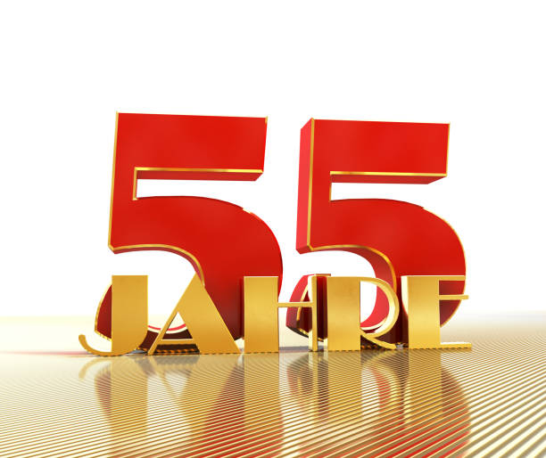 Golden number fifty five (number 55) and the word
