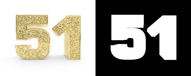oro cincuenta número uno (número 51) sobre fondo blanco con sombra y canal alfa. ilustración 3d - numero 51 fotografías e imágenes de stock