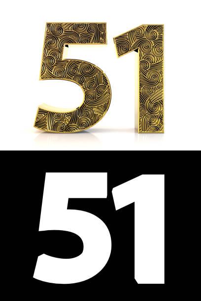 dorado número cincuenta y un años estilo zentangle - numero 51 fotografías e imágenes de stock