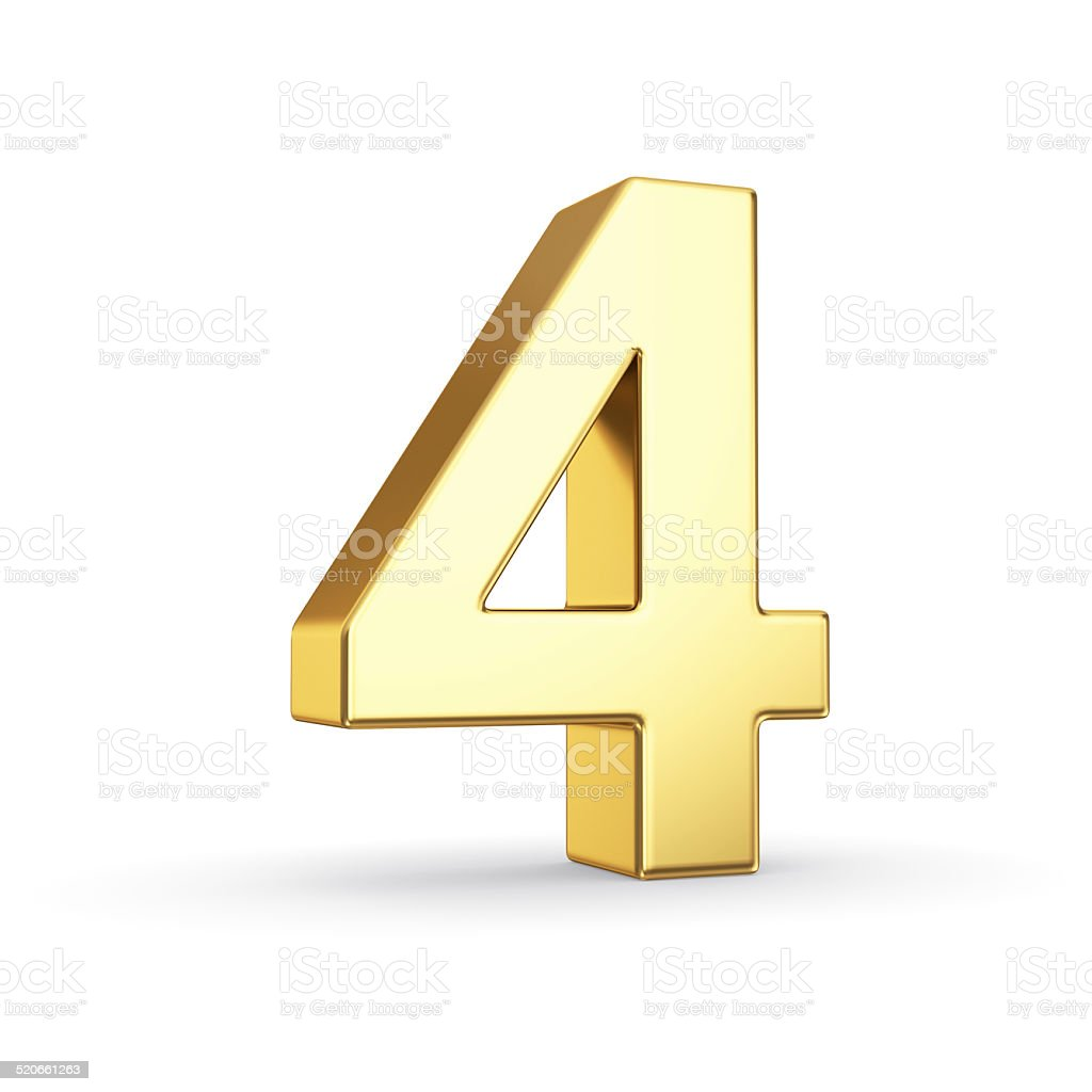 Golden number four on white stock photo