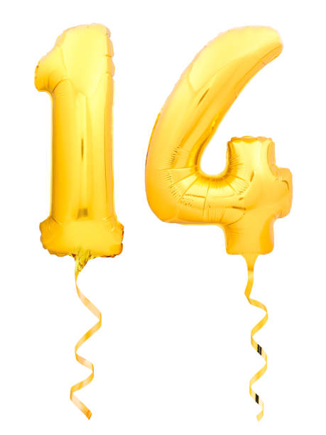 Golden number fourteen made of inflatable balloon with golden ribbon on white stock photo