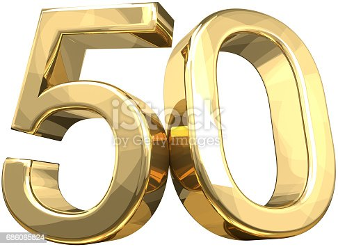istock 50 golden number isolated 3d rendering 686065824